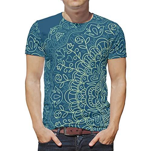 O2ECH-8 Mann Herren Boho T-Shirt Jugendlicher Top, Dunkelblaue Mandala Lustig - Streifen Gedruckt Schnelltrocknend Tragen White XL