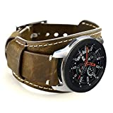 Coobes Compatible with Samsung Galaxy Watch 46mm/Gear S3 Frontier/Classic Bands, 22mm Genuine Leather Cuff Bracelet Replacement Strap with Stainless Steel Buckle for Men Women (Coffe)