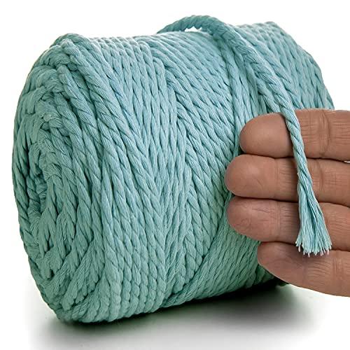 MeriWoolArt Natural cuerda de macramé de colores 6 mm, 100m macramé suave hilo, cuerda algodón reciclado para...