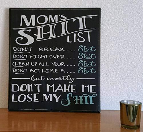 Moms Shit List Holzschild Moms Shit List Schild, Familienregeln, rustikales Holzschild, Kreidetafel-Look mit Blaugrün Akzenten, lustiges Momlife Spruch