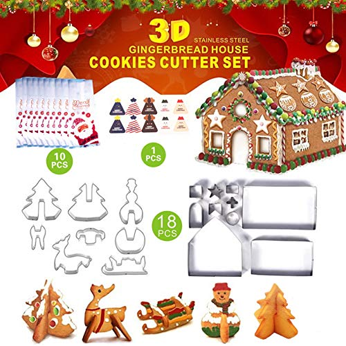 29 PCS 3D Christmas Cookie Cutter Set, Festive Xmas Stainless Steel Biscuit Cutter Set, Including Christmas Tree, Snowman, Reindeer, Sled Shapes, Cookie bags,Christmas stickers, Gift Box Package