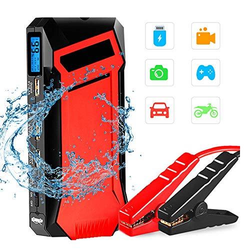 Auto Starthilfe 400A 12000mA Auto Batterie Booster für 5L Benzin & 3L Dieselmotoren mit 3 USB Ausgängen 3 Modi LED Taschenlampe und HD LCD Display,Red