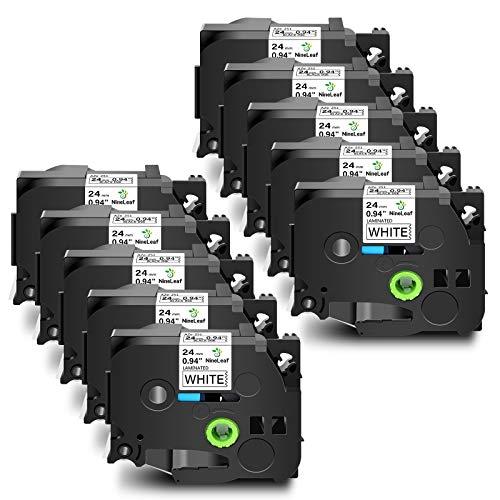 """NineLeaf 10PK 24mm Black on White Label Tape Compatible for Brother TZe-251 TZ 251 TZ251 TZe251 TZe 251 P-Touch 1"""" x 26.2ft Work in PT-D600 PT-P700 PT-2430PC PT-D600VP PT-P900W"""