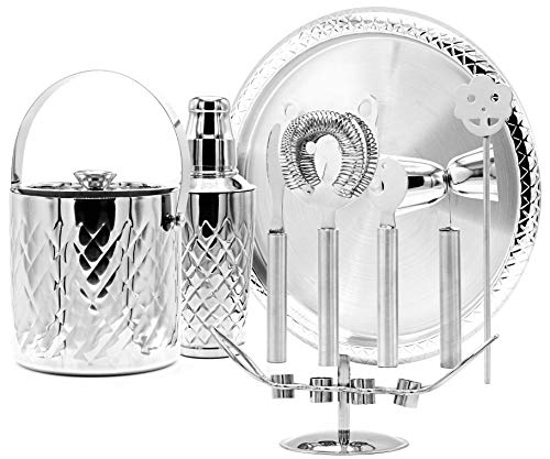 Elegant Cocktail Shaker and Bar Set – 10 Piece Stainless Steel Bar Tool Set with Ice Bucket and Tray – all in One Cocktail Set for Restaurant or Home Bar