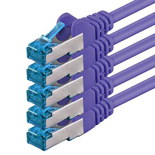 1,5m Cable de Red, Cable Ethernet y LAN SFTP PIMF Cat6a - transmite hasta 10 Gigabit por Segundo y es Adecuado para switches, routers, módems con Entrada RJ45, púrpurat - 5 Piezas