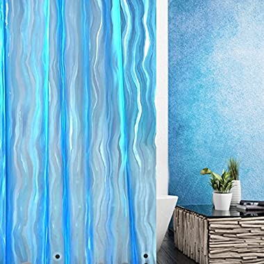 Wimaha Shower Curtain Liner Mildew Resistant Anti Bacterial Waterproof For Bathroom 3D Design Ripple Plastic Shower Curtain Set With Hooks 72W x 72L Blue