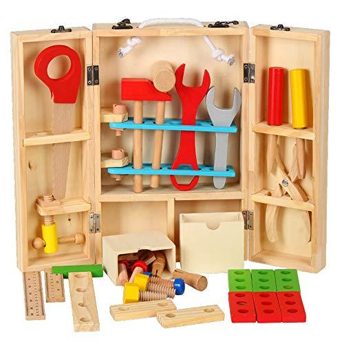 MELLRO Kinderspielblöcke Mehrfarbige Holzwerkzeuge Und Tragetasche Kinder Lernen Spielset & DIY Tischler Spielzeug Gebäude (37-teiliges Set) Für Kleinkinder Kinder Mädchen & Jungen