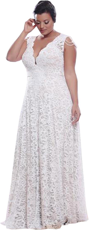 Ellystar Women's Simple ALine Lace V Neck Long Sleeve Backless Wedding Dresses