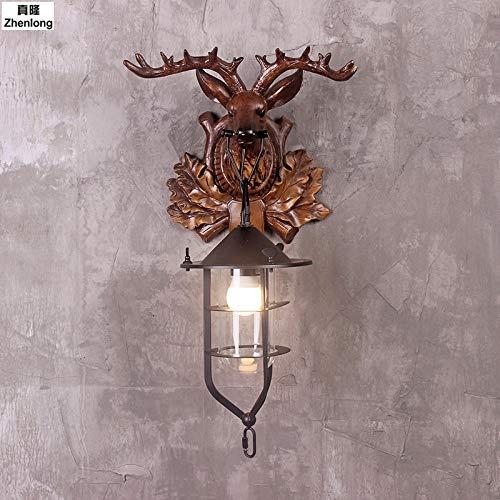 Creatieve Moderne Landelijke Stijl Vintage Antler Wandlamp Persoonlijkheid Herten Lamp voor Slaapkamer Buckhorn Wandlamp Bevestiging met E27, 55x31x20cm