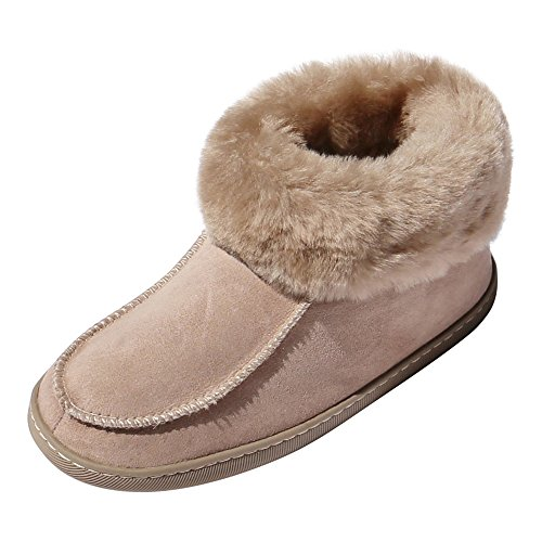 Hollert Leather Lammfell Hausschuhe EWA Premium Damen Fellschuhe aus 100% Merino Schaffell Größe EUR 40, Farbe Braun