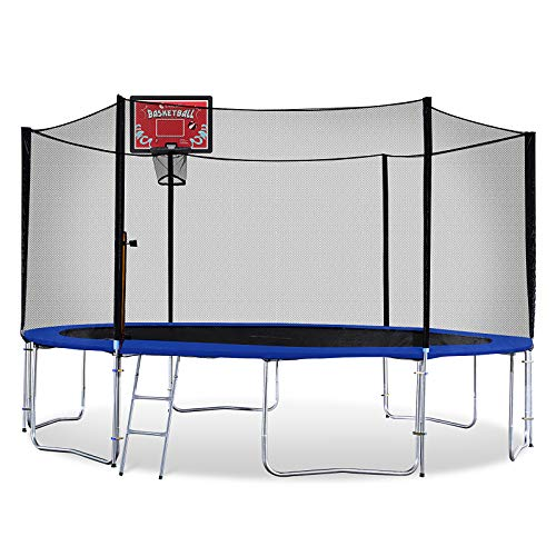 Exacme 15 Foot Outdoor Trampoline with Rectangle Basketball Hoop and...