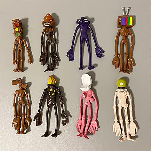 Action Figures Doll, 8 Pcs Siren Head Plush Toy, Siren Head Traffic Light Toy Cartoon Animal Figure Horror Model Doll Set, Monster Cosplay Decorations, for Kids Children Birthday Gift
