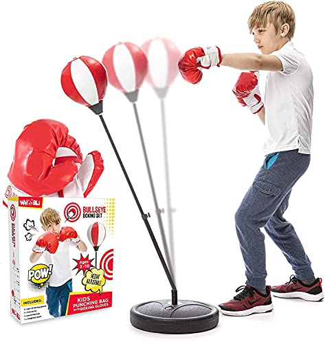 Whoobli Punching Bag for Kids Incl Boxing Gloves   3-10 Years Old Adjustable Kids Punching Bag with Stand   Boxing Bag Set Toy for Boys & Girls