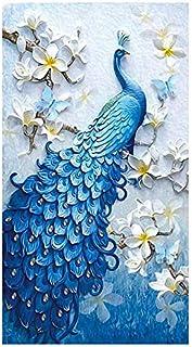 لوحة مطرزة تصنعها بنفسك على شكل طاووس بغرز متقاطعة ومزينة بالالماس بنمط الفسيفساء لديكور المنزل