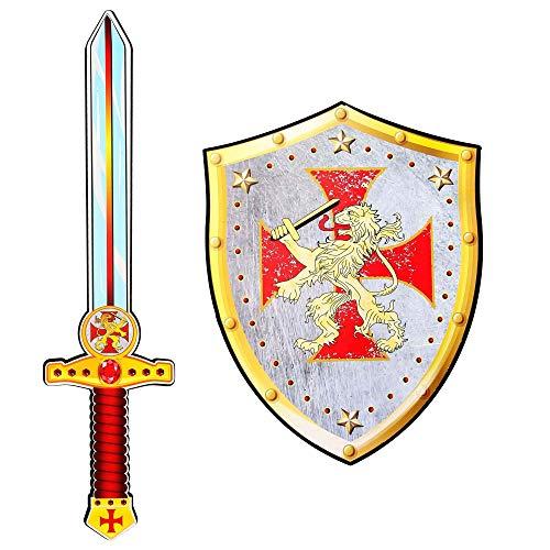 Widmann 97305 - Kreuzritter Schwert und Schild aus weichem Schaumstoff, für Kinder, Ritter, Spielschwert, Waffe, Mottoparty, Karneval