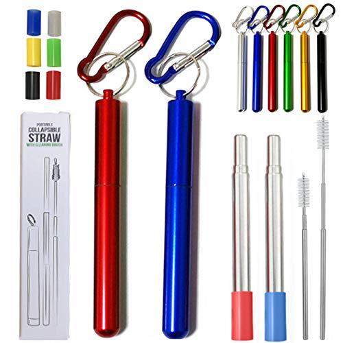 Hoshen 2 cannucce riutilizzabili pieghevoli in metallo, cannucce telescopiche portatili, comprese spazzole e testine in silicone (con guscio), blu/rosso
