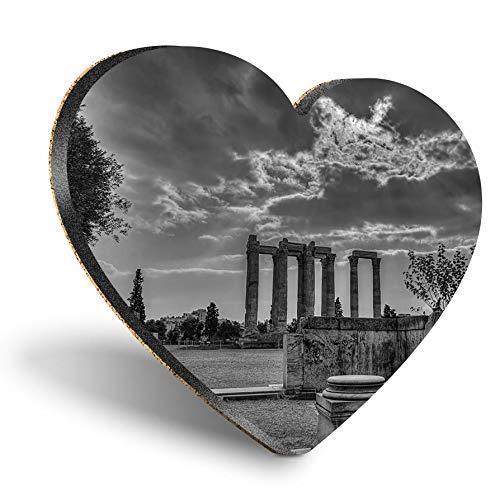 Posavasos de MDF con corazón - BW - Templo de Zeus Olímpico Atenas Grecia | Posavasos de calidad brillante | Protección de mesa para cualquier tipo de mesa #37427