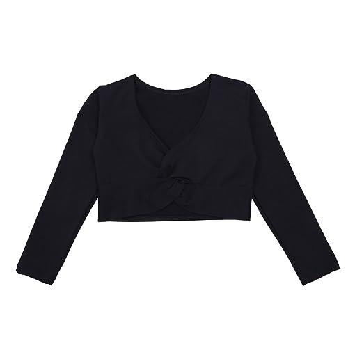 c1e8a9a2ee6efb iEFiEL Girls Front Twist Knot Long Sleeve Ballerina Dance Cotton Wrap Top