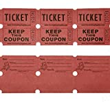 100 Red Colored Raffle Tickets Double Roll 50/50 Carnival Fair Split The Pot One Hundred Consecutively Numbered Fundraiser Festival Event Party Door Prize Drawing Perforated Stubs