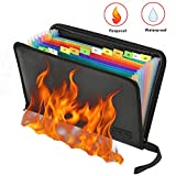 Feuerfeste Dokumententasche - ABClife Expanding File Folder Tragbare feuerfeste Accordion Document Organizer Datei A4 mit feuerfesten Reißverschluss für Vertrag Pässe,Wertsachen,Batterien...