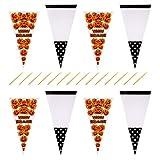 NUOBESTY Sacchetti di Cellophane Cono di Halloween Sacchetti di Caramelle di Popcorn da 200 Pezzi Sacchetti di Biscotti con Laccetti per Forniture Regalo per Feste di Halloween
