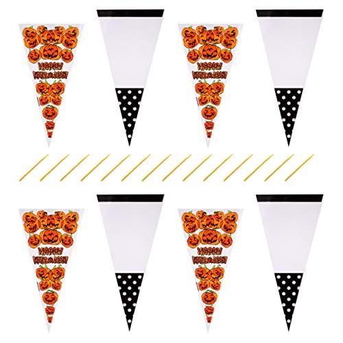 Hakka Bolsas de Celofán de Cono de Halloween 200 Bolsas de Regalo Bolsas de Galletas de Caramelo de Palomitas de Maíz con Lazos Giratorios para Suministros de Regalo de Fiesta de