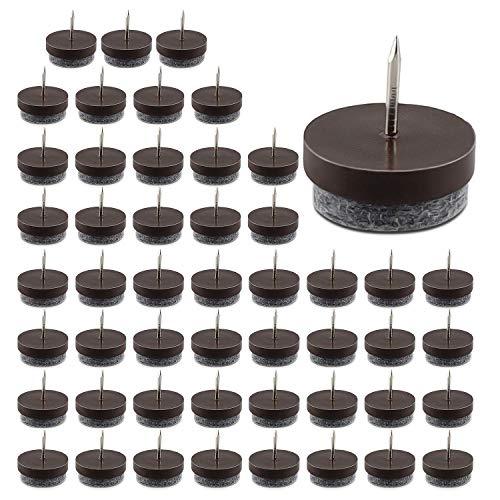 Filzgleiter, 50 Stück Möbelunterlage Nägel Set, Filzgleiter Schrauben mit 9mm Dickem Filz, Tischfüße Möbel Pads Bodenschutz Filzgleiter Nagel für Holzmöbel Stuhl Hocker Tischbein Füße (ø 24mm)