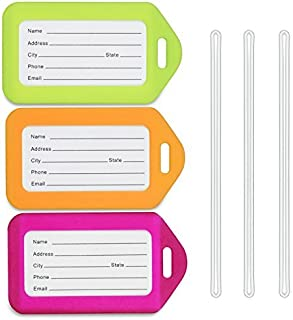 Luggage Tags (Neon, 3 PK), Bag Tag for Baggage, Suitcase Tags Bulk