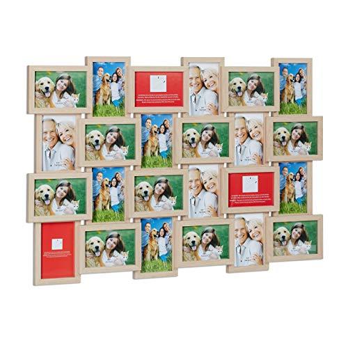 Relaxdays Bilderrahmen, Collage für 24 Bilder, 10 x 15 cm, Hoch-& Querformat, Fotocollage, HxB: 59 x 86,5 cm, Holzoptik
