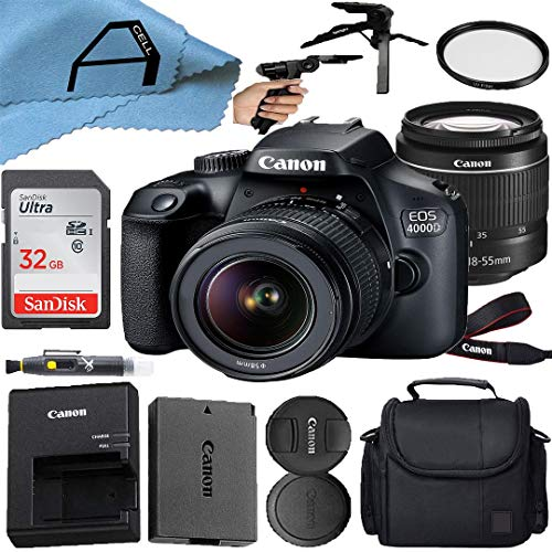 Canon EOS 4000D / Rebel T100 DSLR Camera 18MP CMOS Sensor with EF-S 18-55mm Lens, SanDisk 32GB Memory Card, Case, Tripod and A-Cell Accessory Bundle (Black)