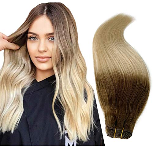 8/60 Ombre Hair Weave Straight Sew in Human Hair Extensions Platinum Blonde with Ash Brown Roots 20 Inch Sew in Bundles for White Women 100g