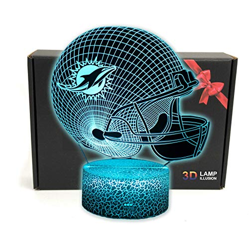 3D Optical Illusion Helmet Smart 7 Colors Night Light Table Lamp Christmas Gifts for Dolphin Fans, Men, Women, Kids, Boys, Teens
