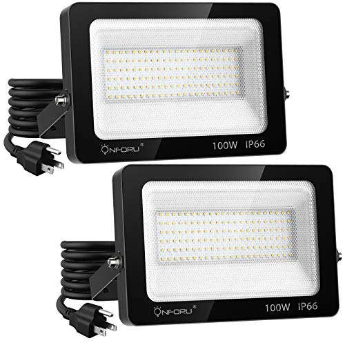 Onforu 2 Pack 100W LED Flood Light with Plug, 10000lm Super Bright LED Work Light, IP66 Waterproof Outdoor Security Lights, 6000K Daylight White Floodlight for Yard, Garden, Patio, Playground