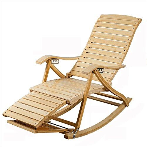 IAIZI Ocio Plegables Silla reclinable balcón Adulto Mecedora de bambú Anciano Almuerzo Silla de...