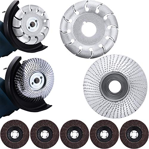 2 Pieces Angle Grinder Disc Wood Carving Disc Carving Abrasive Disc 12 Teeth Wood Polishing Shaping Disc with 5 Pieces Sanding Wheel Flap Discs for Polishing Sanding Carving Grinding Wheel Plate