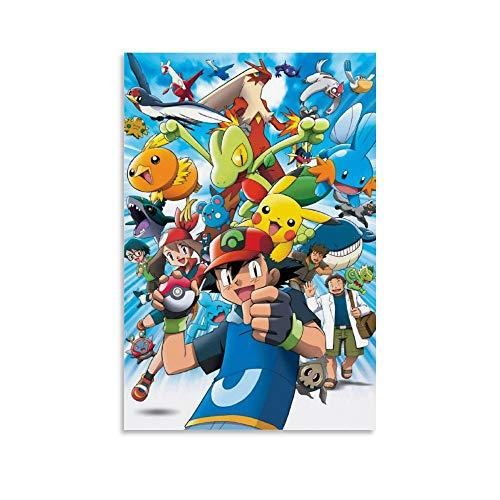 Poster de dessin animé japonais Pokémon - Peinture murale avancée sur toile pour chambre d'enfant - Décoration murale moderne - 30 x 45 cm