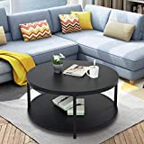 Round Coffee Table Rustic Vintage Industrial Design Furniture Sturdy Metal Frame Legs Sofa Table Cocktail Table with Storage Open Shelf for Living Room, Easy Assembly, Black