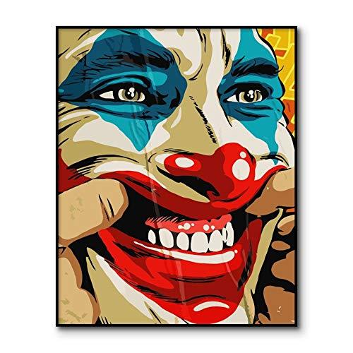 IHlXH Leinwand Gedruckte Malerei Joaquin Phoenix Movie Comics Joker Malen Bild Filme DIY Malerei auf Leinwand 40x50cm ohne Rahmen