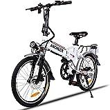 Vélo de Montagne Pliable pour vélo électrique, 26/20 pneus Vélo électrique pour vélo Ebike 250 W, Batterie au Lithium 36V 8Ah, Suspension Complète Premium, Shimano 21/7 Vitesses (20 blanc-pliable)