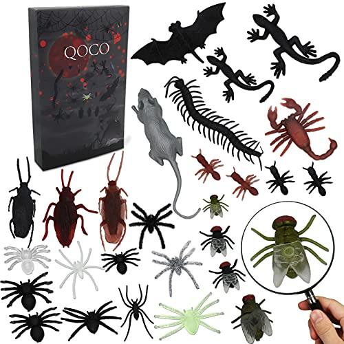 QOCO 44 Stücke Plastik Realistische Bugs, Insekten Spielzeug für Halloween, Kunststoff Realistische Trick Witz Dekoration Unheimlich, Insekten Plastik Spielzeug Spinnen und Gecko für Halloween Party