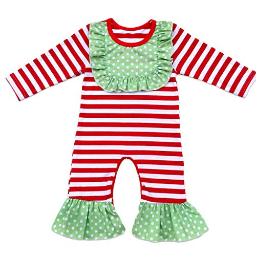 Toddler Little Girls Baby Christmas Romper Icing Ruffle Bottoms Long Sleeve Jumpsuit Playwear Pants Floral Printed Pajamas Nightwear Homewear Summer Fall Birthday Outfits Party Clothes Red 3-6M