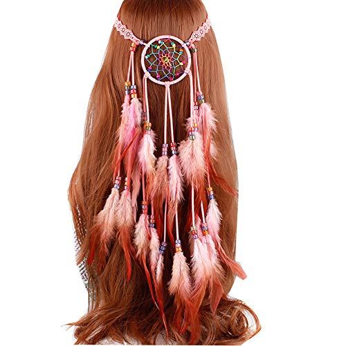 Damen Indianer Feder Stirnbänder, Tukistore Hippie Boho Haarband Haarschmuck Indisch Kopfschmuck Quaste Haarband Traumfänger Hippie Indianer Feder Kopfband Haarbänder für Frauen Festival Karneval