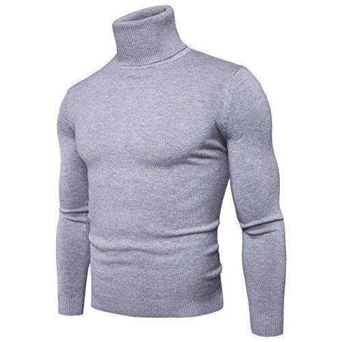 CELANDA Herren Strickpullover Stehkragen Turtleneck Sweater Slim Fit Rollkragen Pullover Warme Strickpullover Grau Größe:L/Lieferantengröße:XL