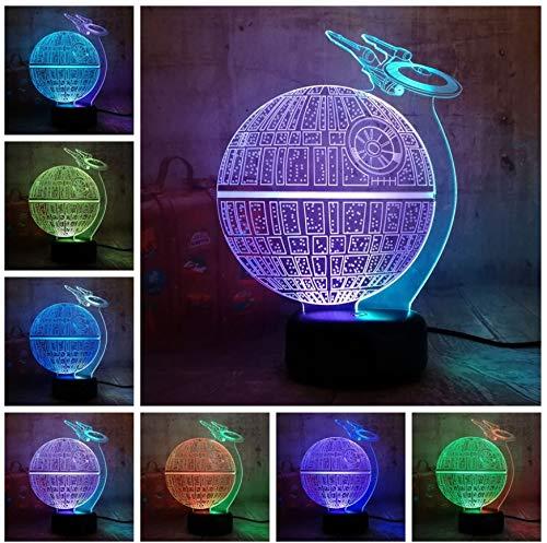 3D Optical Illusion Lampe Led Nachtlicht Neue Stil Star Wars Todesstern Lustre 3D Led Nachtlicht 7 Mixed Dual Farbwechsel Nachtlicht Lampe Weihnachtsgeschenk Wohnkultur Kinder Spielzeug