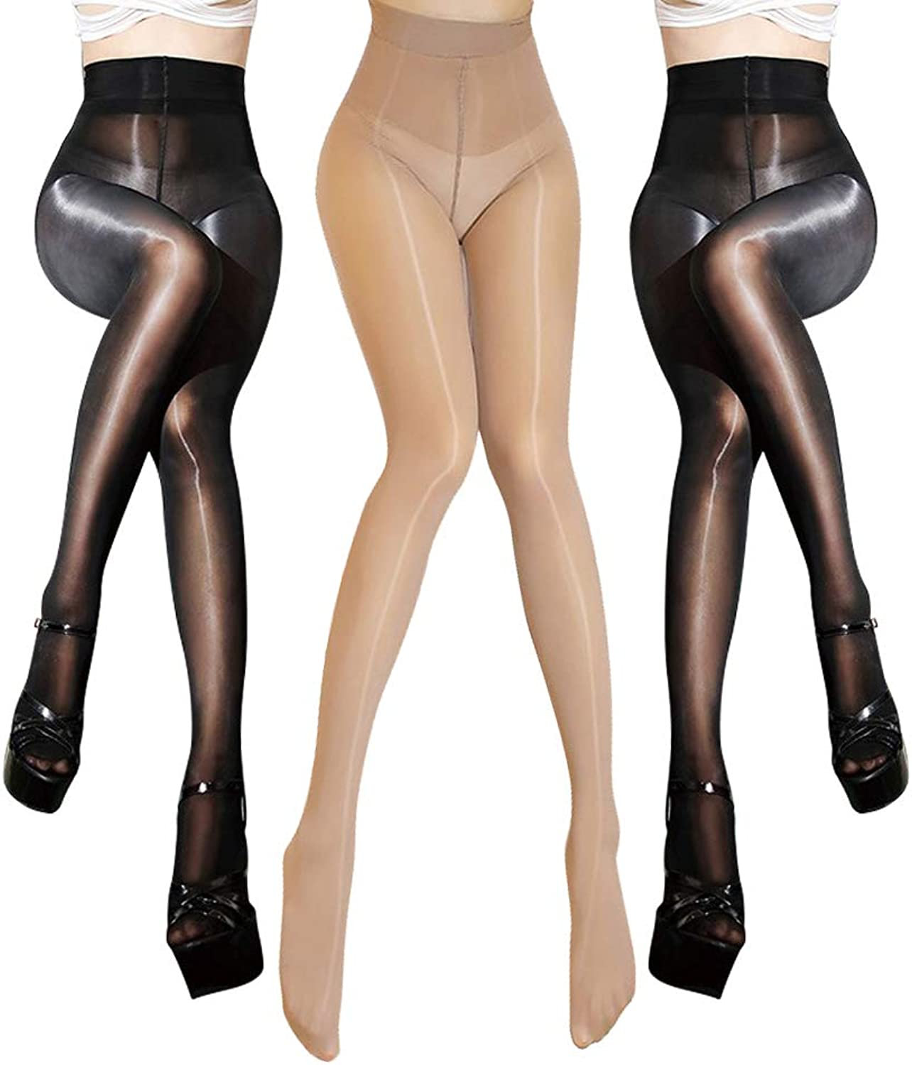ElsaYX Women's 8D Pantyhose Control Top Stockings
