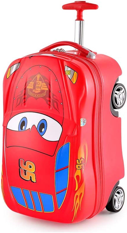 DHR Kinder Koffer Rucksack Schultasche Riemenscheibe kann sitzen Fahrt 18 Zoll Lightning McQueen Travel Trolley Junge Mdchen Kinderrucksack (Farbe   rot)