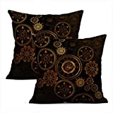 Heyqqo Set of 2 Cushion Covers Linen Steampunk Steam Punk Gears Clock Abstract Technology Vintage Bronze Century Pillowcases Square Soft Home Decor Design Throw Pillow Cases Sofa Bedroom 16x16 Inch