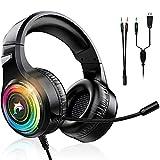 Gaming Headset Für Xbox One PC PS5 Ps4 Notebook 3.5 mm Surround Sound Kabelgebundene Gaming Kopfhörer Einzigartiges und Cooles buntes RGB Licht