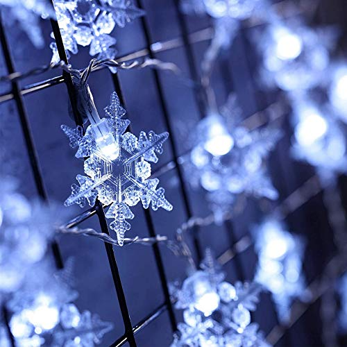 Thanksgiving Big Snowflake String Lights 20 Feet 40 LED Lights Snowflakes LED Curtain Lights Wonderland Snowflake Christmas Light, Battery Powered with 8 Flicker Modes for Xmas Chu