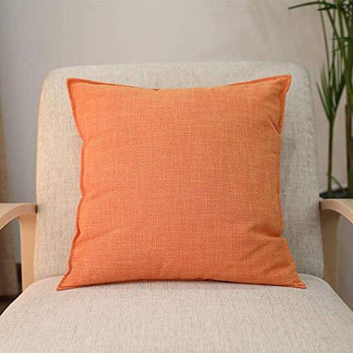 ZJDK Cushion Covers Square Large Pillow Sofa Linen Pillow Bedroom Cushion-Orange_50X50Cm (Including Core)